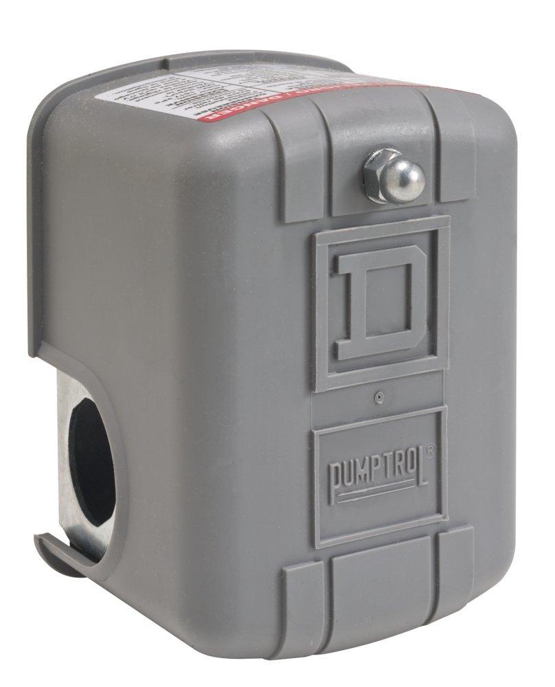 Square D by Schneider Electric 9013FYG2J24P Air-Pump Pressure Switch, NEMA 1, 40-60 psi Pressure Setting, 20-65 psi Cut-Out, 15-30 psi Adjustable Differential, Pulsation Plug
