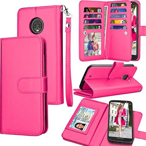 r Motorola Moto G6 Wallet Case / 2018 Moto G6 PU Leather Case, Luxury ID Cash Credit Card Slots Holder [Rose] Carrying Folio Flip Cover [Detachable Magnetic Hard Case] & Kickstand ()