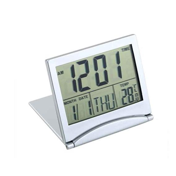 Mengonee Pantalla LCD Reloj Despertador Escritorio Termómetro Digital Cubierta Reloj de Mesa de Escritorio Flexible: Amazon.es: Hogar