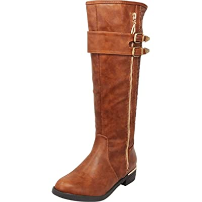 Cambridge Select Women's Side Zip Strappy Double Buckle Knee-High Quilted Riding Boot: Shoes