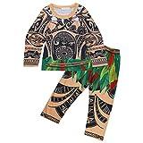 Noblelife Moana Costume Boys Moana Pajamas Maui Tops and Bottoms Outfit Cosplay PJS Sleepwear SZ 3-4 Long Sleeve