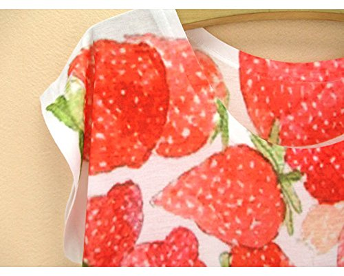 manga Camiseta Cuello Fresa redondo Acvip Top para corta mujer Blusa de verano de 440x1rqw
