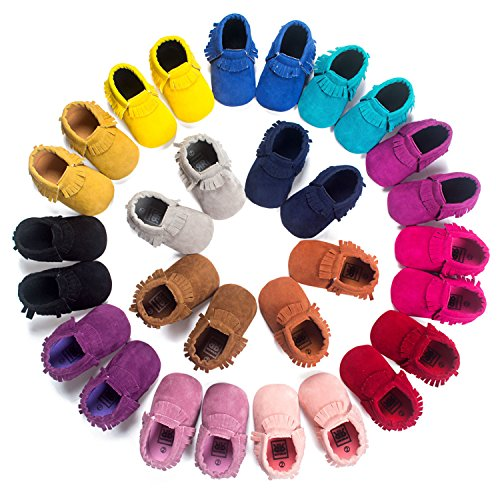 ABOZY Baby Boys Girls First Walkers Tassel Soft Non-slip Crib Shoes Moccasin Sandal (11cm(0-6months), Style 1)