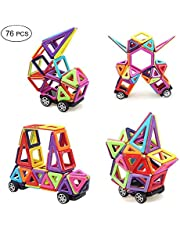 Portable Magnetic Building Blocks, 76pcs Mini Magnet Tiles Set with Wheels and Alphabet Educational Stacking Blocks Toys Gifts for Toddlers Kids Boys Girls Over 3 Years Old, Perfect for Travel