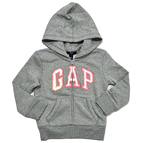 GAP Girls Zip Up Fleece Arch Logo Hoodie (Gray, Large)
