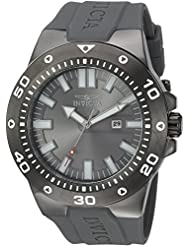 Invicta Mens Pro Diver Quartz Stainless Steel and Polyurethane Casual Watch, Color:Grey (Model: 23512)