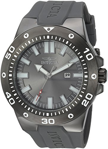 Invicta Men's 'Pro Diver' Quartz Stainless Steel and Polyurethane Casual Watch, Color:Grey (Model: 23512) Polyurethane Round Watch