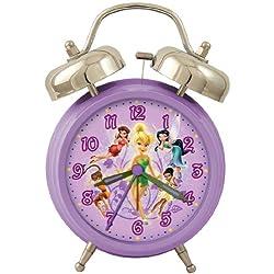 Disney Fairies DC94676 Quartz Analog Twin Bell Alarm Clock (Purple/Silver)