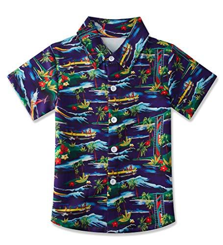 uideazone Boys Blue Surf Printed Shirts Kids Short Sleeve Dress Shirt Hawaiian Aloha Tops Summer Daily Casual Wear (Size 5-6T)