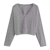 NUWFOR Women's Long Sleeve V Neck Crop Top Cropped T-Shirt Cotton Spandex for Winter/Fall