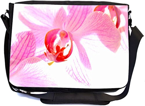 Rikki Knight Pink Orchid Design Combo Multifunction Messenger Laptop Bag - with Padded Insert for School or Work - Includes Wristlet & Mirror (Orchid Wristlet Pink)