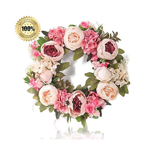 LASPERAL Peony Wreath – 15″ Flower Wreaths for Front Door Peonies Wreath with Green Leaves Spring Wreath for Halloween, Christmas, Wedding, Wall, Home Decor