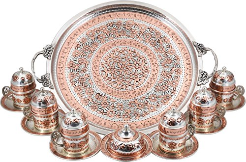 Floral Espresso Cup (Traditional Design Handmade Copper Turkish Arabic Armenian Greek Coffee Set Coffee Cup Espresso Set Tea Set for Six-(CS6-120))