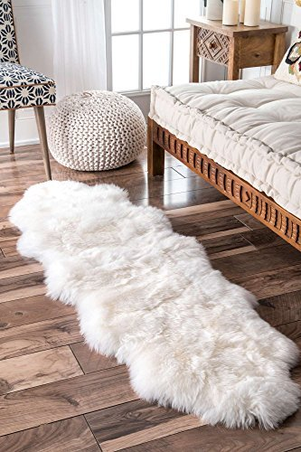 - A-STAR Natural White Sheepskin Rug - 2 x 6 Double Genuine Sheep Skin Rug