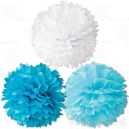10 Inch Tissue Paper Flower Pom Poms, Pack of 12, Blue x 4 / Pastel Blue x 4 / White x 4