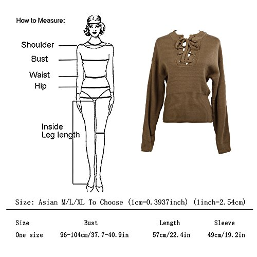 Sweater Cabina amp; Lacet La Shirt Sweat R Hoodie en Tricotage Sexy Femme Pull wRdxOI