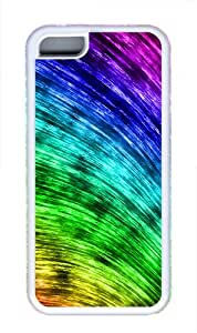 Curved Rainbow TPU Silicone Rubber Soft Back Case Cover Protector for iPhone 5C - White