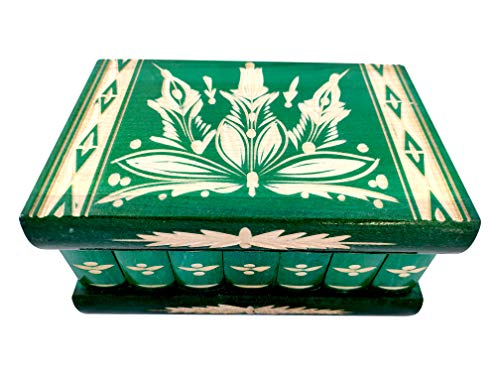 Handmade Wooden Puzzle Jewelry Box from Kalotart. One of a Kind Magic Case with Hidden Key & Removable Compartments. Stunning, Beautiful, Impressive Gift. Like Those Prized by European Royalty Green
