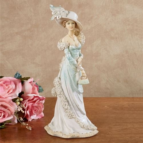 (Touch of Class Victorian Lady Figurine in Teal Dress with feathering Hat and Handbag)