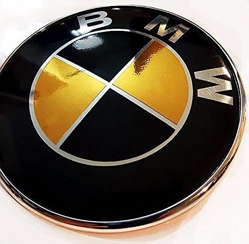 GLOSS BLACK and CHROME GOLD Sticker Overlay Vinyl for All BMW Emblems Caps Logos Roundels - Bmw Emblem Trunk Sticker