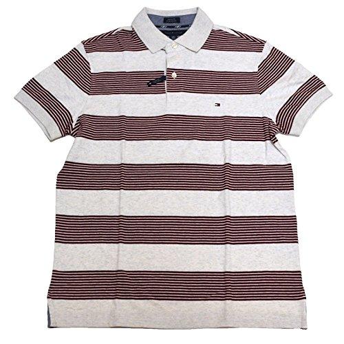 Tommy Hilfiger Mens Custom Fit Broken Stripe Polo Shirt (Gray-Maroon Stripes, Large)