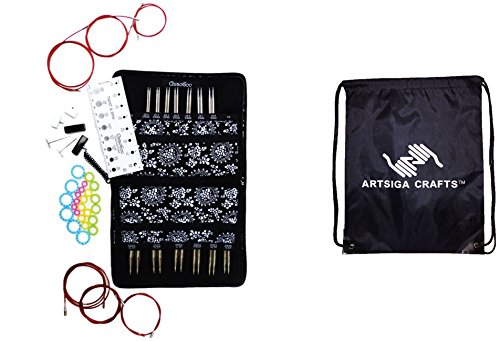 ChiaoGoo Twist Red Lace Interchangeable Knitting Needle Set Complete: Sizes US 2 (2.75mm)-US 15 (10mm) Bundle with 1 Artsiga Crafts Project Bag 7500-C ()