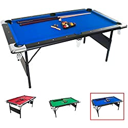 GSE Games & Sports Expert 6-Ft Deluxe Folding Billiard Pool Table with Set of Pool Balls, 2 Pool Cues, and Accessories (Blue)
