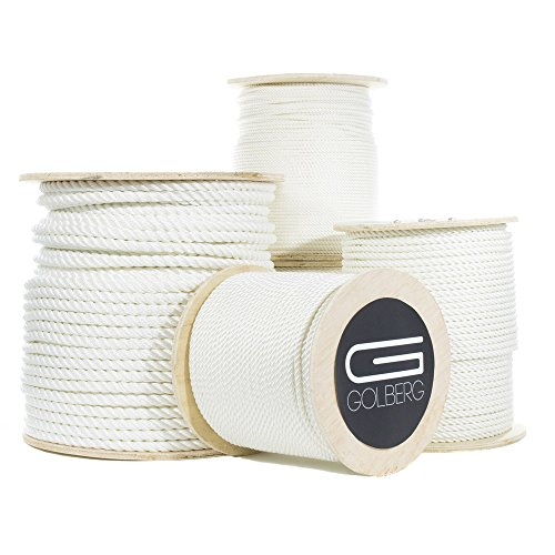 "GOLBERG Premium USA Made Twisted Nylon Rope – Choose from 1/4'', 5/16"", 3/8"", 1/2'', 5/8"", 3/4'', 1"", 1.25"", 1.5"", 2"" Diameter – Available in Lengths of 10', 25', 50', 100', 600', 1200' by GOLBERG"