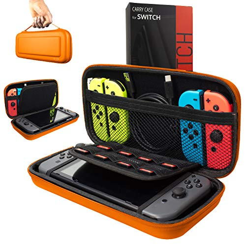 (Orzly Carry Case Compatible With Nintendo Switch - ORANGE Protective Hard Portable Travel Carry Case Shell Pouch for Nintendo Switch Console & Accessories)