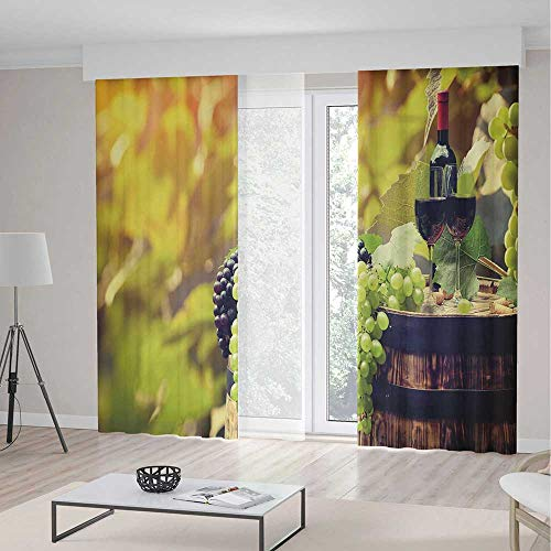 (ALUONI Windows Blackout Curtain TT02 Wine Living Room Bedroom Décor Agriculture Country Theme Natural Landscape Product 2 Panel Set 118W x 106LInches)