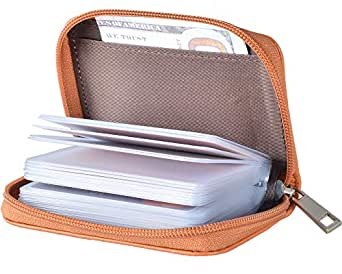 Easyoulife Genuine Leather Credit Card Holder Zipper Wallet With 26 Card Slots (Brown)
