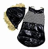 SELMAI Dog Harness Coat with Hole Hooded Fur Trim Small Dog Jacket Hook Winter Vest Houndstooth Cat Puppy Clothes Black M