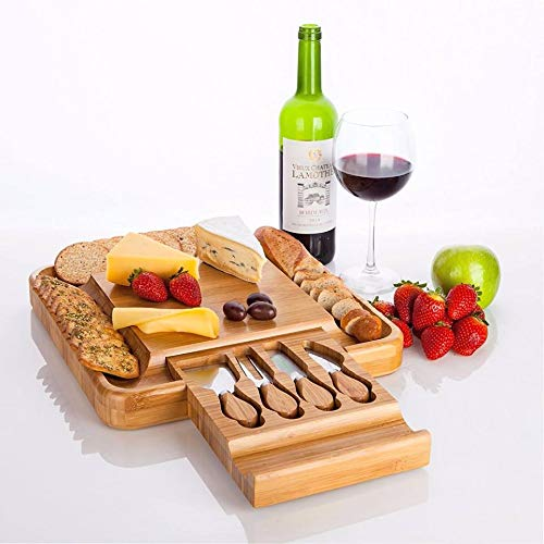 Unique Bamboo Cheese Board Set-Silverware Drawer Organizer, Cheese Board And Knife Set with Slide-Out Drawer Wedding Gifts For The Couple Perfect for Christmas, Wedding & Housewarming Gifts