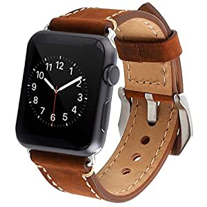 Apple Watch Band, Cowhide Genuine Leather iwatch Replacement Strap for Apple Watch Band 42mm Series 2 & Series 1 iWatch Band Sport Edition Dark Brown