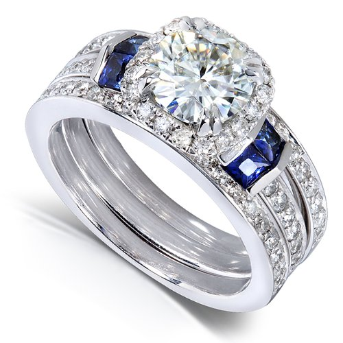 Round-cut Moissanite Bridal Set with Diamond & Sapphire 2 CTW 14k White Gold (3 Piece Set)