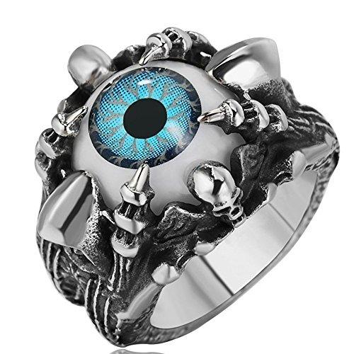 Men's Stainless Steel Vintage Gothic Dragon Claw Evil Devil Blue Eye Skull Ring (Blue, 11)