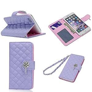 BestCool Funda de Cuero Flip Carcasa Cover para iPhone 6 4.7 inch Funda Piel de Diamond Celosía PU Leather Case Piel de la Cubierta Cierre Magnético con la Función de Soporte y Ranuras para la Tarjeta de Débito / crédito- Púrpura