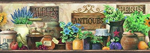 Chesapeake PUR44581B Brittany Black Herbs Antiques Portrait Wallpaper Border