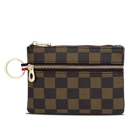 Triple Zip Checkered PU Vegan Leather Mini Coin Purse Key Ring Wallet Card Case (Brown)