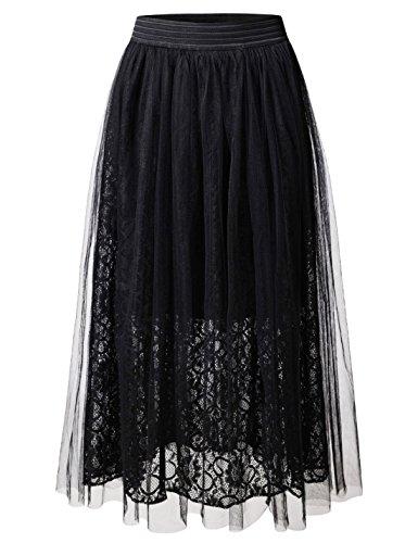 NEARKIN (NKNKWLSK61 Lady Petticoat Tutu Organza Floral Laced Midi Skirt Black US L(Tag Size L)
