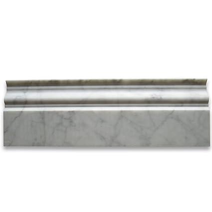 Carrara White Italian Carrera Marble Baseboard Crown Molding 4 x 12