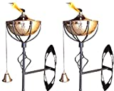 Legends Direct Maui Wall Sconce Tiki Style Torch Set of 2, Landscape torch, Tabletop torch, Deck Mount, Wall Mount, Deck Sconce, Oil Lamp, Tiki Torch Lamp, (Hammered Copper)