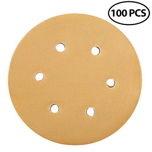 Sanding Disc 400 Grit 6-Inch 6-Hole Sandpaper - LotFancy Hook and Loop Orbit Sander Paper, Pack of 100 (Hook Grit 400)