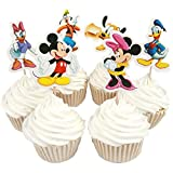 BETOP HOUSE Set of 24 Pieces Cute Round Minnie Mickey Mouse Dessert Muffin Cupcake Toppers for Picnic Wedding Baby Shower Birthday Party Server
