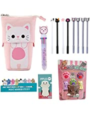 Kawaii Cute Stationary Set Pop Up Pencil Case,8 x Cat Pens,10-in-1 Multi Color Pen,2 x Stickers Cat Sticky Notes Page Markers and Fun Erasers Pack - Cat Stationary Set Cute Stationary Gift Set
