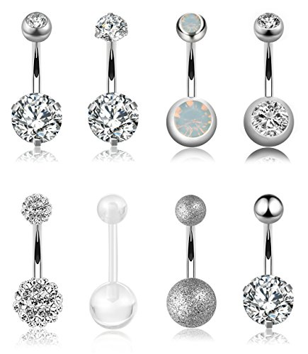 YOVORO 8PCS 14G 316L Stainless Steel Womens Belly Button Rings for Girls Navel Rings Barbell Body Piercing Jewelry white