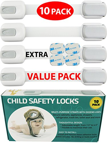 Large Product Image of Child Safety Locks -VALUE PACK (10 Straps)- No Tools or Drilling -Adjustable Size/Flexible -Adhesive Furniture Latches For Baby Proofing Cabinets, Drawers, Appliances, Toilet Seat, Fridge, Oven & More