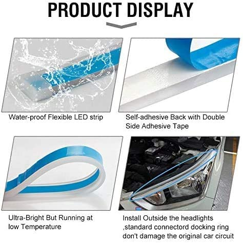 Flexible Led Light Strip Kits XTAUTO 60cm 23inch Dual Color White Amber Sequential Switchback DRL Waterproof for Car Replacement Headlight Daytime Running Light Lamp Turn Signal Tube Light Bulbs