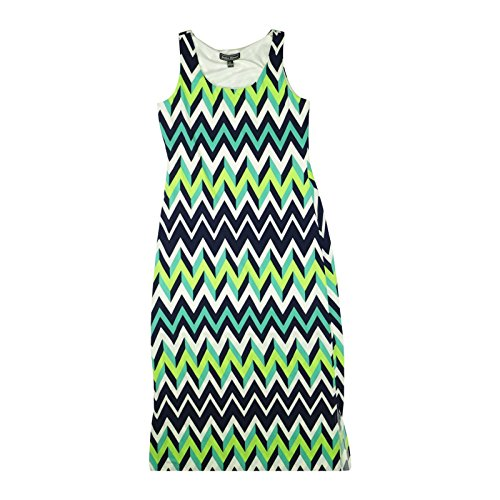 Jessica Howard Womens Sleeveless Maxi Dress Medium Green Multi Chevron