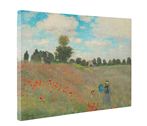Poppy Framed Set Print - Niwo Art (TM) - Wild Poppies Near Argenteuil, by Claude Monet - Oil painting Reproductions - Giclee Canvas Prints Wall Art for Home Decor, Stretched and Framed Ready to Hang ( 16